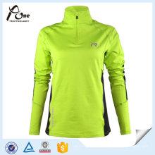 Camisas de mulheres personalizadas Zipper Pullover Long Sleeve Sport Jersey