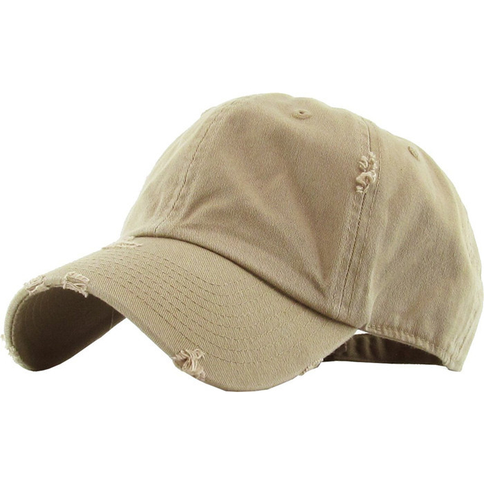 Wholesale Solid Blank Distressed Baseball Cap Washed