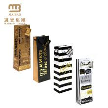 O presente impresso personalizado barato da garrafa leva sacos de venda por atacado de empacotamento do vinho de papel em Guangzhou