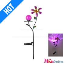 Luzes de LED Solar de flor de Metal de bola de vidro elegante