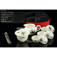 Handbemalte Bambus Malerei Travel Teaware Set-1 Gaiwan, 1 Krug, 6 Tassen & 1 Pinzette