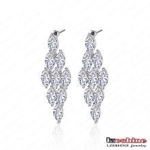 Diamond-Shaped Zircon Chandelier Earrings (CER0008-B)