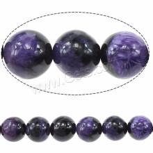 Perle de pierres précieuses de taille 8mm ronde en quartz charoite naturel