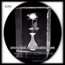 K9 3D Laser bloque de cristal con rosa grabado