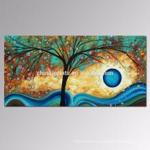 Árbol de la pintura al óleo sobre lienzo contemporáneo Lucky Tree Canvas Wall Art Venta al por mayor