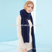 Wholesale unisex elegant thickened rib knitted long cashmere scarf