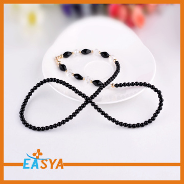 Long Black Beads Chain Necklace Fashion Jewelry