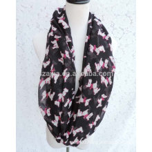 Fashion printed polyester voile infinity lady scarf