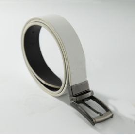Men's Reversible Rotated Buckle Dress Belt Leather