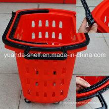 Supermarket Store Shopping Use Rolling Plastic 4 Wheel Basket