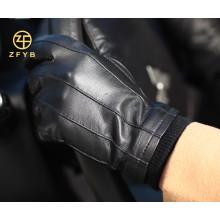 Luva de couro dos carneiros dos homens novos da cor do preto grande do estilo 2014