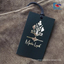 Luxury Custom Design Clothing Paper Hang Tag With String Gold Hot Stamping Logo