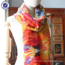 Inner Mongolia Digital Printing Small order Monet Design 100% Twill cashmere scarf and shawl wholesale SWC814