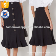 New Fashion Black Button Down Frill Hem Summer Mini Daily Skirt DEM/DOM Manufacture Wholesale Fashion Women Apparel (TA5033S)