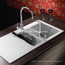 Dissipador de cozinha de aço inoxidável de vidro 1.5B moderado da inserção com bacia dobro