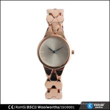 Nuevo reloj de cuarzo de la pulsera de la manera de las mujeres de los artículos en oro color de rosa
