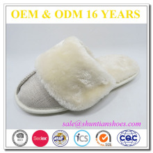 Luxury faux fur lined winter lady plush indoor slipper
