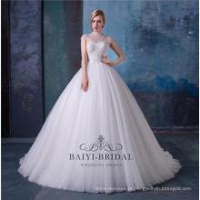 Vestidos de noiva de vestido de noiva de pescoço alto frisada