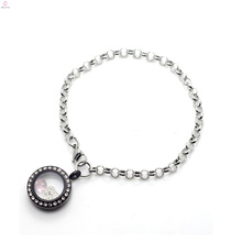 2018 Bracelet pendentif en argent 316L spécial pour médaillons flottants en cristal noir