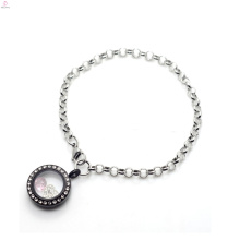 2018 Special silver 316l pendant chain bracelet for crystal black floating lockets