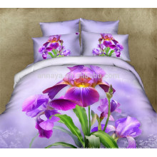 100% algodón chino conjunto de ropa de cama en Walmart al por mayor 3D diseño floral púrpura