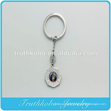 Holy Religious medals with Classic oil painting picture Catholic Charms Silver Keychain