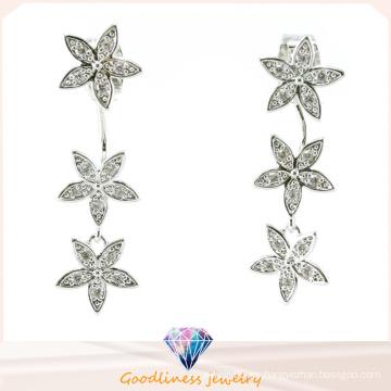 Buena calidad y estrella de diseño de diseño joyería de moda China Joyería entera 3A CZ 925 pendiente de plata de joyería (E6522)