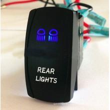 12V-24V luces traseras azules y blancas Interruptor de eje de balancín del coche