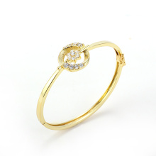 Fashion Jewelry 14k Gold Elegant Rural Style Crystal Flower Bangle