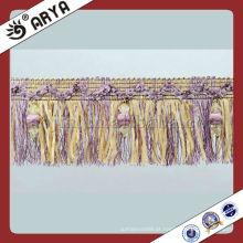 Fralda de cortina de contas de fantasia, Tassel Trim, Lace Trimming com design fino usado para vestir, Decoração de vestuário