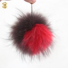 Большие помпоны в шляпе Beanie Настоящие животные Пушистый енот-собачий меховой шар Beanies Pompom