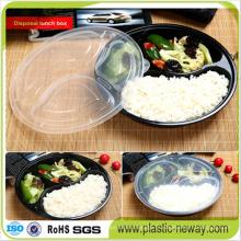 Boîte à lunch jetable en plastique ronde à trois compartiments pour four à micro-ondes