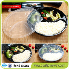 3 Compartments Round Microwaveable Plastic Disposable Lunch Box