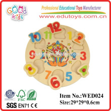 learning clown clock puzzle funny & wooden organic baby toys