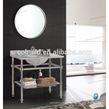 K-7001B new design stainless steel frame hotel console bathroom vanity with marble countertop