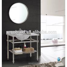 K-7001B novo design em aço inoxidável estrutura consola de banheiro com bancada de mármore
