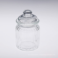 Rib Glass Container with Glass Lid