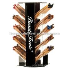 Maquiagem Cosmética Eyes Liner Pencil Organizer Countertop Acrílico Rotating Eyeliner Display Wholesale