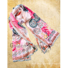 100% silk fashion long printing scarves