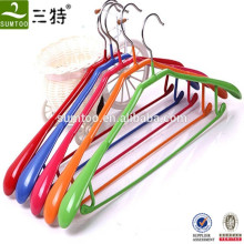 PVC coated metal clothes colourful hanger with bar