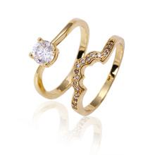 Xuping Мода 14k Позолоченное кольцо любви с белым камнем CZ