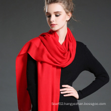 Female Red Twill Wool Scarf Shawl