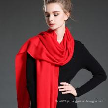 Casaco de lenço de lã de lã vermelha feminina