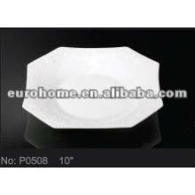 Plats / plats en céramique blanc pour hôtel et jardin P0508