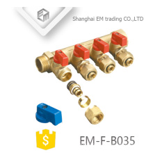 EM-F-B035 Manifold de latão de compressão de 4 vias com válvula de esfera