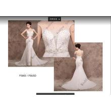 Colarinho alto Beading sereia lantejoulas vestido de noiva de tule vestido de noiva F5063