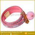 Quente! Bracelete de couro feito sob encomenda pavimentado cristal do bracelete da colar