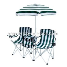 camping folding table and chair sets with umbrella and cooler bag