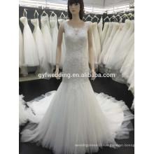 Hot Sale Elegant Beaded Sleeveless See Through Back Lace Applique New Model Mermaid Wedding Dresses 5296-1