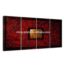 Pintura a óleo moderna da lona para a parede / jogo 100% handmade da pintura de 4 / arte abstrata da lona do sonho